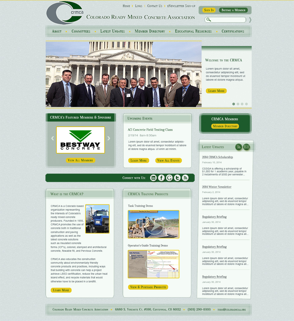 Colorado ready mixed concrete association crmca aspire internet design - Google home page design ...